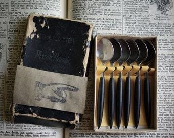 Vintage Demitasse Spoons, Mid Century Modern, Black Plastic Handles and Stainless Steel, Original Box, Set of 6, Coffee Stirrers