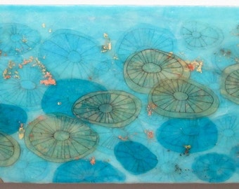 Abstract art, Jellyfish painting, encaustic wax art, aqua, underwater creatures, sea urchins, home decor