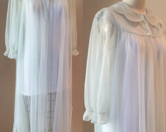 Vintage 50's / 60's Baby Blue Sheer Robe, Pin Ip Robe, Nighty,60's Lingire