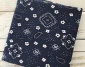 Navy Blue and White Bandana print fabric 1/2 yard