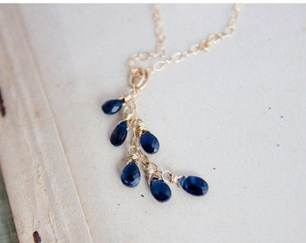 ON SALE Sapphire Necklace, Gold Necklace, Cascade Pendant, September Birthstone, Gold Jewelry, Wire Wrapped, Birthstone Necklace, Navy Blue