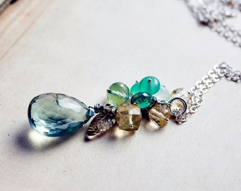 Gemstone Necklace, Cluster Necklace, Prasiolite Necklace, Gemstone Cluster, Attersee Necklace, Sterling Silver, Gemstone, PoleStar