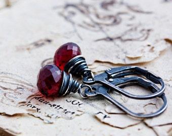 Garnet Earrings, Drop Earrings, Wire Wrapped, January Birthstone, Dangle Earrings, Sterling Silver, Dark Red, Garnet Jewelry, PoleStar