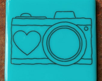 Coaster - Fused glass - Camera - turquoise