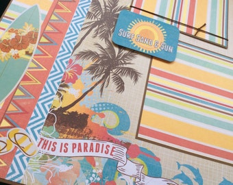 Scrapbook Album Page, Beach Scrapbook Layout, Surfing Layout Page, 12x12 Single Page Layout, Paradise, Vacation Scrapbook Layout, Summer