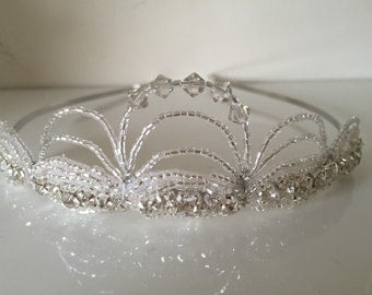 Silver Crystal Tiara Crown