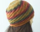 SALE, Hand Knit Hat, Ready to Ship,  Slouchy Hat, Winter Hat, Knit Beanie, Spiral Hat, Orange, Gold Hat
