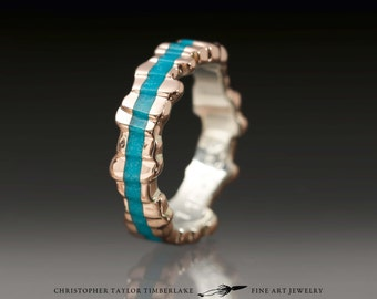 Cuttlefish Cast 14K Rose Gold Ring with Turquoise Inlay