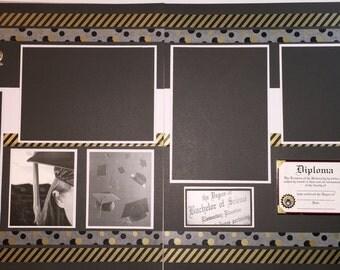 GRADUATION 12 x 12 premade scrapbook pages - High School Graduation - Boy Girl