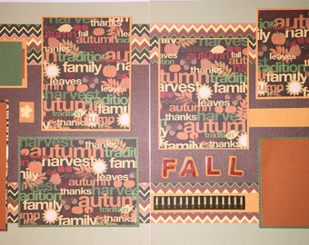 HAPPY HARVEST premade scrapbook pages - Fall Happy Harvest