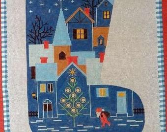 Blue Christmas stocking Theodora Handpainted Santa