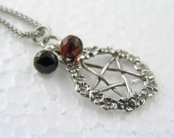 Pentagram Necklace with Black Spinel and Garnet, Supernatural Necklace, Supernatural Jewelry, Gothic Necklace, Gothic Jewelry, N1771