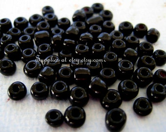 Best Deal on Etsy  African glass Seed Beads, Opaque Colour Seed, jet black, about 4mm Beads 4mm-bulk Fancy  Black beads