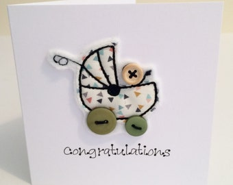 Cards - GREEN Congratulations Embroidered Card - Personalised