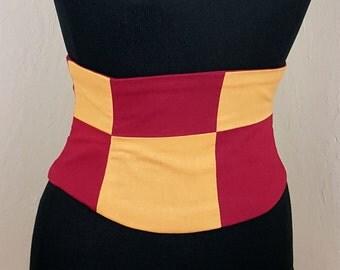 Scarlet and Gold Corset Belt Waist Cincher Quartered Lace Up Boned Sash Any Colors