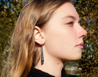 Long black earrings for women/ Dangle drop, modern unique earrings/ Handcrafted, hammered silver, oxidized/ minimalistic silver stick/ ECOOX