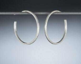 Sterling silver hoop earrings/ 30mm/ Hand made, solid silver hoops/ Brushed, matte, hammered texture/ Thin, classic hoop/ Gift for mom