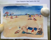 Original watercolor of a French girls on the beach at Trouville