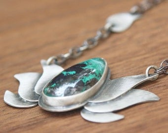 Lotus Necklace With Chrysocolla and Iron Ore, Sterling Silver
