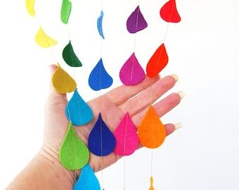 Hanging Rainbow Raindrops - A Set of 5 Colorful Felt Decorative Garlands with a spectrum of beautiful handcut felt raindops