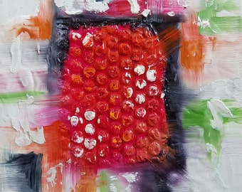 """Small Original Oil Painting, Red and Black, 5 x 5"""", Unframed, Contemporary Art"""