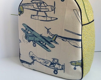 Kids Backpack, Childrens Backpack, Toddler Backpack, Retro Airplanes (Ready To Ship)