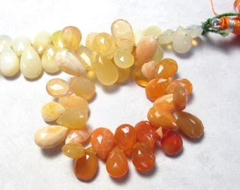 AAA Jelly Fire Opal Briolettes Beads , Large  Size, Vivid Natural Orange Mexican Cherry Opal, 9mm 10mm 12mm Briolettes