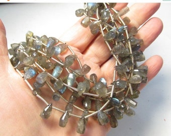 OUT Of Town SALE Fiery Labradorite Briolette Beads, Fancy Rose Cut Faceted , Elongated Drops Briolette Beads, Very Fiery Labradorite, 7mm 8m
