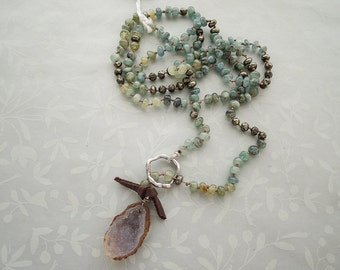 Natural Druzy Geode Pendant Necklace with Aquamarine and Pyrite- 28""