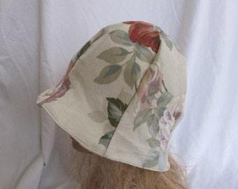 SALE - Beige Floral Cloche/Tulip Hat (5224)