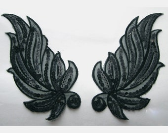 2 Pieces of Black Embroidered Sequins Iron On Leaf  Patches