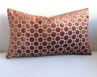 VELVET  PILLOW in copper amber 12x18 12X20 12X22 12X24 12x26 includes insert