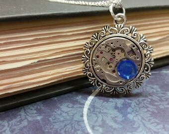 Steampunk Watch Gear Pendant with Blue Crystal