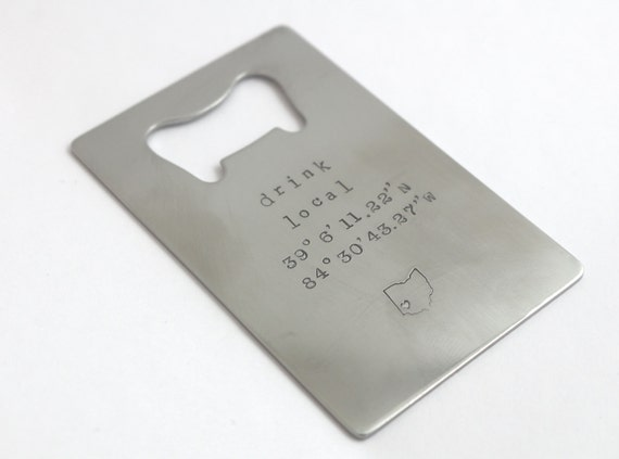 personalized bottle opener wallet card coordinates wallet. Black Bedroom Furniture Sets. Home Design Ideas