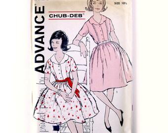 1960s Vintage Sewing Pattern - Girls Rockabilly Shirtwaist Dress - Advance 9757 Vintage Pattern / UNCUT FF / Chub-Deb Size 10.5 or 12.5