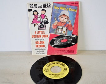 1960s vintage a little golden book and golden record / Read and hear / Boy with a drum / little golden book / Eloise Wilkin