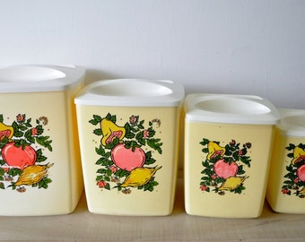 1950s vintage mid century/deco kitchen creamy yellow plastic canister set