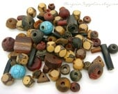 seeds, wood and horn mixed lot beads, 85 pcs, bead destash sale, jewelry supplies, natural beads, bead lot