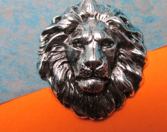 Lion Pin Leo the Lion brooch Vintage brooch lion jewelry Silver lion head pin