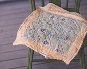 RTS Blue Floral Vintage Tattered Quilt Piece Photography Prop