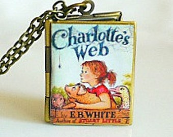 Charlottes Web, EB White, American Lit, Children's Lit, Best-Selling Paperback, Wilbur the Pig, 3rd Grade Book, Book Locket Necklace