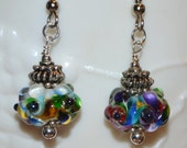 Colorful Lampwork Glass Bead Earrings