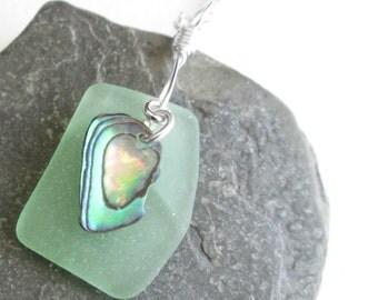 Mint Green Sea Glass Pendant, Natural Abalone Shell Jewelry