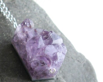 Large Raw Amethyst Necklace, Rough Crystal Stone Jewelry, Amethyst Jewelry