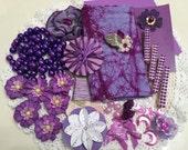 PURPLE Inspiration Kit, Mixed Media Supplies, Scrapbook Embellishments, Handmade and Commercial Destash Supplies