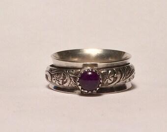 Worry Ring/Amethyst Ring/Meditation Ring/Spinner Ring/Fidget Ring/Anxiety Ring/Spinning Ring/Fidget Rings/Meditation Rings/Wide Spinner Ring