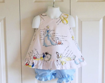 Ruffled Bow Back Swing Back Pinafore Top Bloomers Set baby or toddler - 3 mos to 4T - Fashionable Disney Princesses