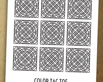 Color Tac Toe! A colorful spin on the classic game. Instant download coloring page.