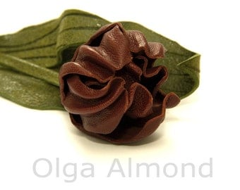 Tulip brooch.Leather tulip. Leather brooch .Fantasy Leather jewelry.Leather flower