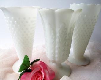 Vintage Milk Glass Vase Collection of Three - Weddings Bridal